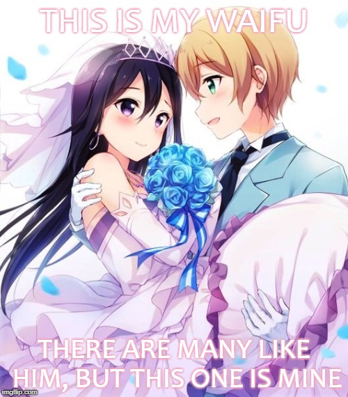 (Male) Waifu | THIS IS MY WAIFU THERE ARE MANY LIKE HIM, BUT THIS ONE IS MINE | image tagged in sword art online,kirito,eugeo,trap,waifu,yaoi | made w/ Imgflip meme maker