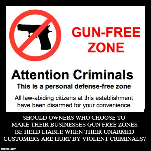 Damn straight they should be held responsible.  | SHOULD OWNERS WHO CHOOSE TO MAKE THEIR BUSINESSES GUN FREE ZONES BE HELD LIABLE WHEN THEIR UNARMED CUSTOMERS ARE HURT BY VIOLENT CRIMINALS?  | image tagged in funny,demotivationals,gun free zone,criminals,business,random | made w/ Imgflip demotivational maker