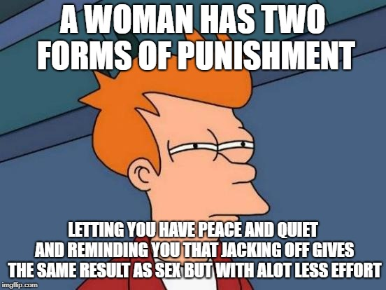 Futurama Fry Meme | A WOMAN HAS TWO FORMS OF PUNISHMENT LETTING YOU HAVE PEACE AND QUIET AND REMINDING YOU THAT JACKING OFF GIVES THE SAME RESULT AS SEX BUT WIT | image tagged in memes,futurama fry | made w/ Imgflip meme maker