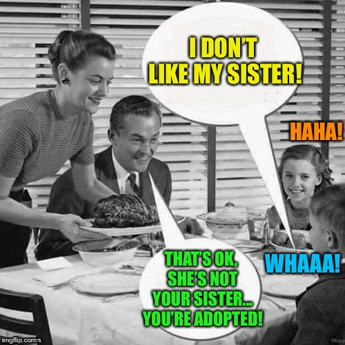 Vintage Family Dinner | I DON'T LIKE MY SISTER! THAT'S OK, SHE'S NOT YOUR SISTER... YOU'RE ADOPTED! HAHA! WHAAA! | image tagged in vintage family dinner | made w/ Imgflip meme maker