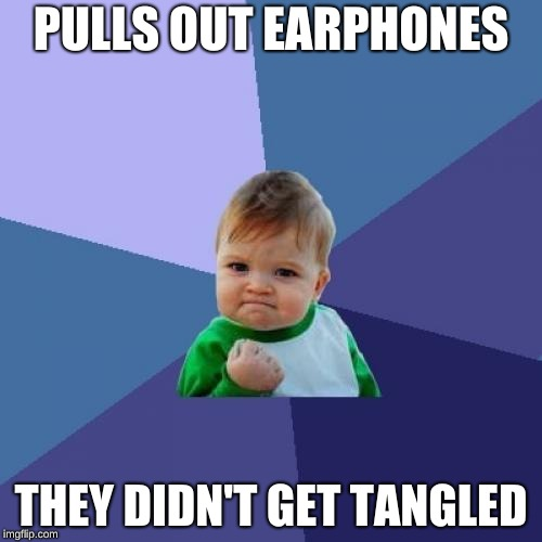 Success Kid Meme | PULLS OUT EARPHONES THEY DIDN'T GET TANGLED | image tagged in memes,success kid | made w/ Imgflip meme maker