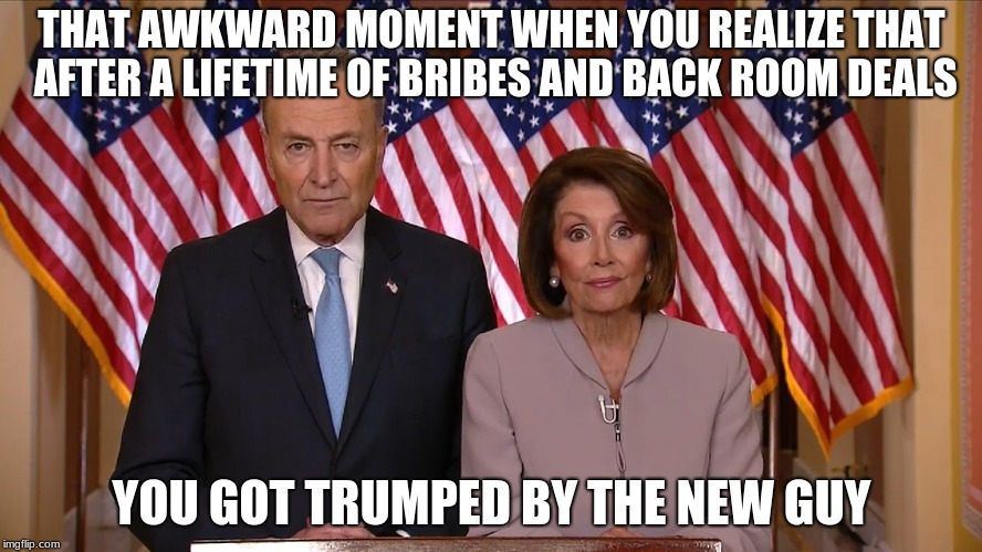 Chuck Schumer and Nancy Pelosi are the reasons we need term limits | THAT AWKWARD MOMENT WHEN YOU REALIZE THAT AFTER A LIFETIME OF BRIBES AND BACK ROOM DEALS YOU GOT TRUMPED BY THE NEW GUY | image tagged in chuck and nancy,chuck schumer,nancy pelosi,term limits,no wall no votes,never incumbent | made w/ Imgflip meme maker