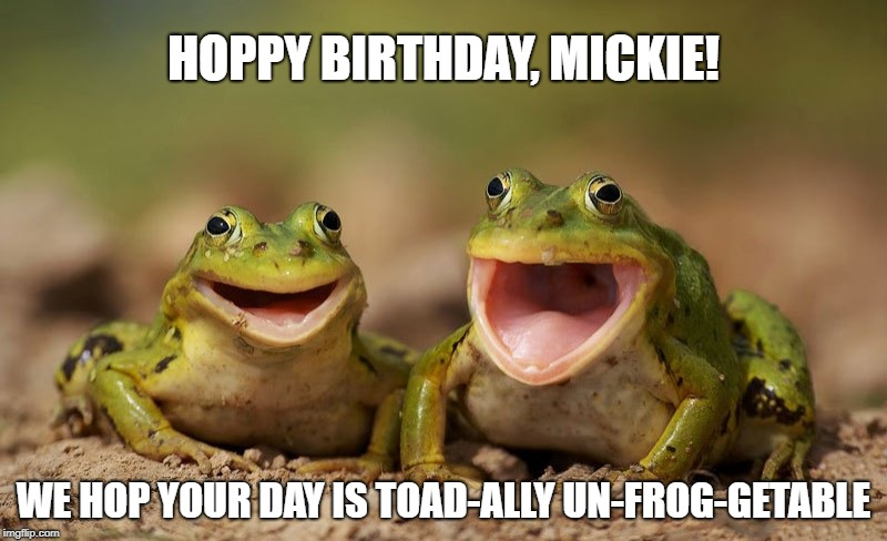 Frog Joy | HOPPY BIRTHDAY, MICKIE! WE HOP YOUR DAY IS TOAD-ALLY UN-FROG-GETABLE | image tagged in frog joy | made w/ Imgflip meme maker