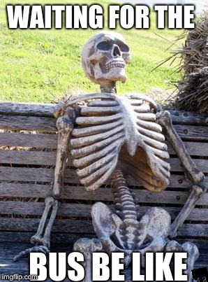 Waiting Skeleton Meme | WAITING FOR THE BUS BE LIKE | image tagged in memes,waiting skeleton | made w/ Imgflip meme maker