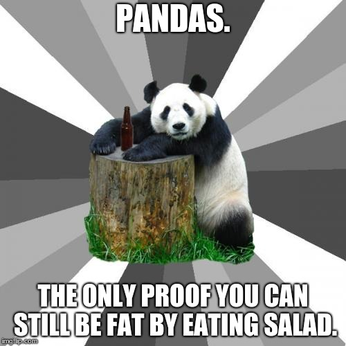 Pickup Line Panda |  PANDAS. THE ONLY PROOF YOU CAN STILL BE FAT BY EATING SALAD. | image tagged in memes,pickup line panda | made w/ Imgflip meme maker