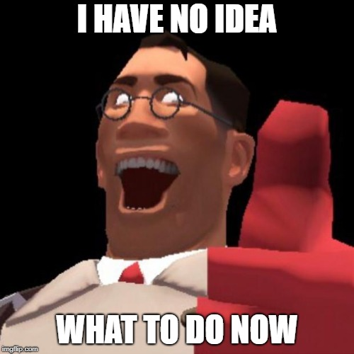 TF2 Medic | I HAVE NO IDEA WHAT TO DO NOW | image tagged in tf2 medic | made w/ Imgflip meme maker