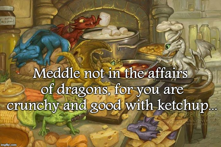 Meddle not... | Meddle not in the affairs of dragons, for you are crunchy and good with ketchup... | image tagged in dragons,crunchy,good with ketchup | made w/ Imgflip meme maker