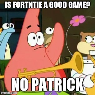 No Patrick Meme | IS FORTNTIE A GOOD GAME? NO PATRICK | image tagged in memes,no patrick | made w/ Imgflip meme maker