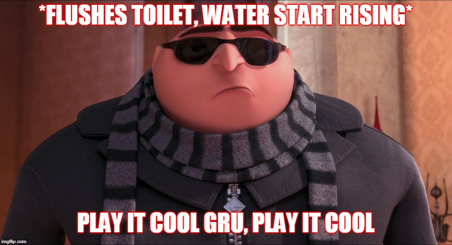 *FLUSHES TOILET, WATER START RISING* PLAY IT COOL GRU, PLAY IT COOL | image tagged in grus plan evil | made w/ Imgflip meme maker