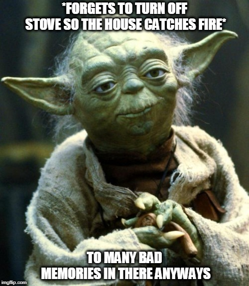 Star Wars Yoda Meme | *FORGETS TO TURN OFF STOVE SO THE HOUSE CATCHES FIRE* TO MANY BAD MEMORIES IN THERE ANYWAYS | image tagged in memes,star wars yoda | made w/ Imgflip meme maker