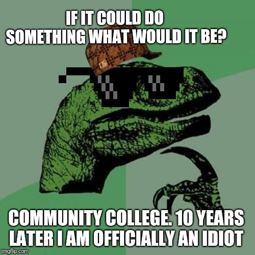 Philosoraptor Meme |  IF IT COULD DO SOMETHING WHAT WOULD IT BE? COMMUNITY COLLEGE. 10 YEARS LATER I AM OFFICIALLY AN IDIOT | image tagged in memes,philosoraptor | made w/ Imgflip meme maker