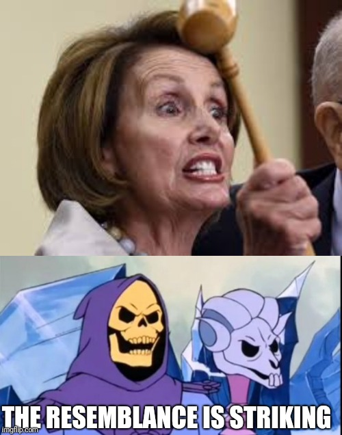 They must be related | THE RESEMBLANCE IS STRIKING | image tagged in crazy nancy,skeletor | made w/ Imgflip meme maker