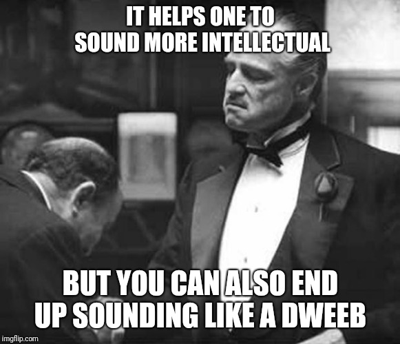Godfather Respect | IT HELPS ONE TO SOUND MORE INTELLECTUAL BUT YOU CAN ALSO END UP SOUNDING LIKE A DWEEB | image tagged in godfather respect | made w/ Imgflip meme maker