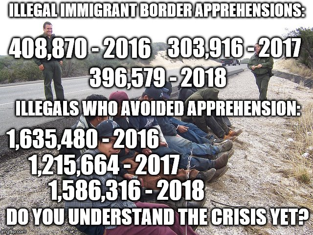 What the Media Doesn't Tell You | ILLEGAL IMMIGRANT BORDER APPREHENSIONS: 396,579 - 2018 303,916 - 2017 408,870 - 2016 ILLEGALS WHO AVOIDED APPREHENSION: 1,635,480 - 2016 1,2 | image tagged in illegal immigration,build the wall,trump | made w/ Imgflip meme maker