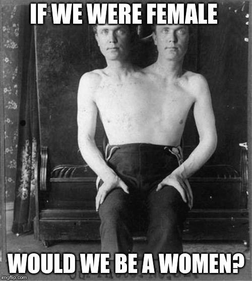 Two headed man | IF WE WERE FEMALE WOULD WE BE A WOMEN? | image tagged in two headed man | made w/ Imgflip meme maker