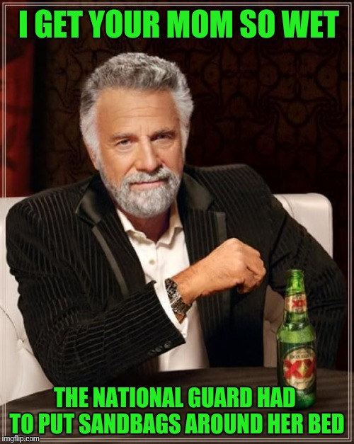 The Most Interesting Man In The World Meme | I GET YOUR MOM SO WET THE NATIONAL GUARD HAD TO PUT SANDBAGS AROUND HER BED | image tagged in memes,the most interesting man in the world | made w/ Imgflip meme maker