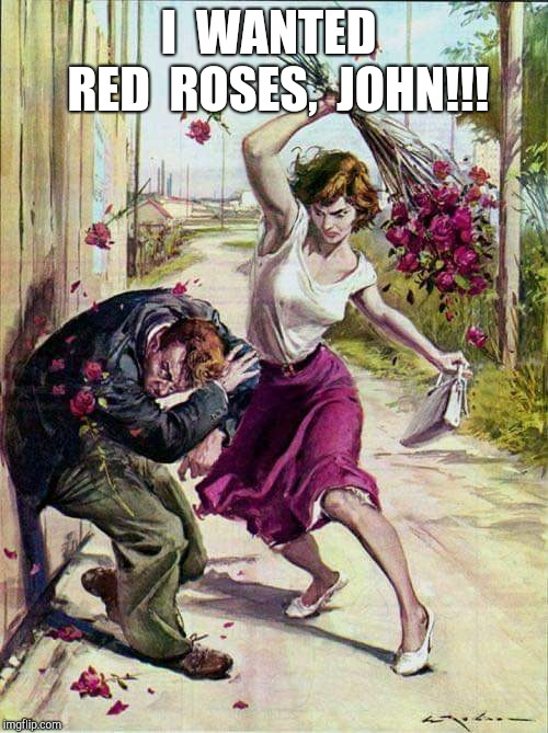 Seriously, who buys purple roses? :P | I  WANTED  RED  ROSES,  JOHN!!! | image tagged in beaten with roses,purple roses,red roses,roses,flowers,flower | made w/ Imgflip meme maker