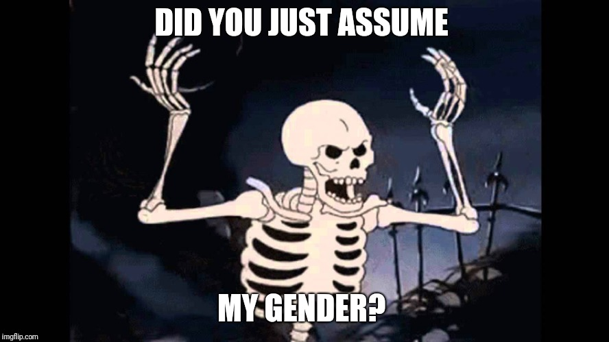 2000 years from now they'll dig you up and identify your gender based on your skeleton...  | DID YOU JUST ASSUME MY GENDER? | image tagged in spooky skeleton,transgender,gender identity,gender confusion,did you just assume my gender | made w/ Imgflip meme maker
