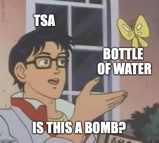 what | TSA BOTTLE OF WATER IS THIS A BOMB? | image tagged in memes,is this a pigeon,tsa,airplane,bomb | made w/ Imgflip meme maker