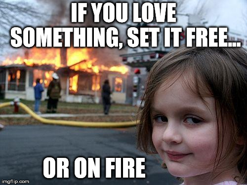 Disaster Girl Meme | IF YOU LOVE SOMETHING, SET IT FREE... OR ON FIRE | image tagged in memes,disaster girl,demotivationals,love,fire | made w/ Imgflip meme maker