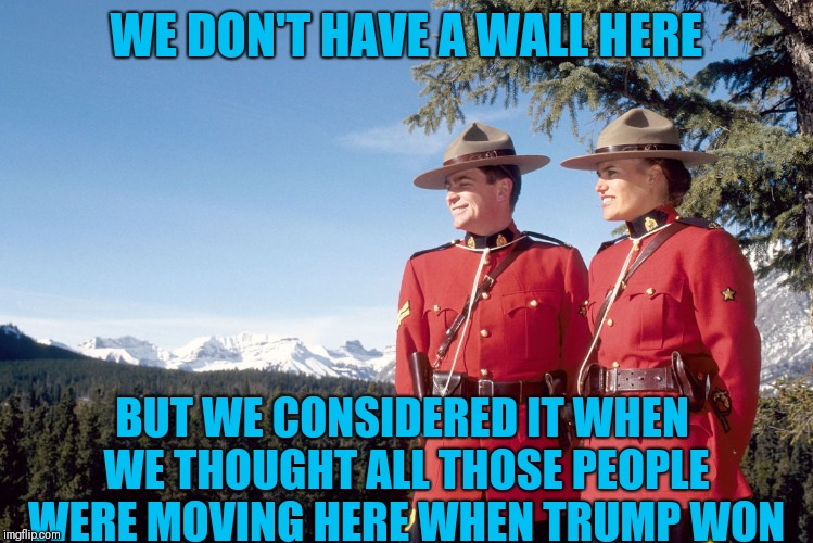 The wall |  WE DON'T HAVE A WALL HERE; BUT WE CONSIDERED IT WHEN WE THOUGHT ALL THOSE PEOPLE WERE MOVING HERE WHEN TRUMP WON | image tagged in canada mountain police,secure the border | made w/ Imgflip meme maker