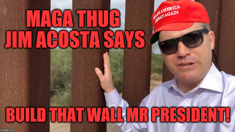 MAGA thug Jim Acosta | MAGA THUG JIM ACOSTA SAYS BUILD THAT WALL MR PRESIDENT! | image tagged in memes | made w/ Imgflip meme maker