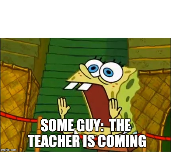 Spongebob screaming | SOME GUY:  THE TEACHER IS COMING | image tagged in spongebob screaming | made w/ Imgflip meme maker