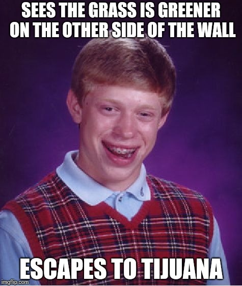 An illegal in Mexico !! | SEES THE GRASS IS GREENER ON THE OTHER SIDE OF THE WALL ESCAPES TO TIJUANA | image tagged in memes,bad luck brian | made w/ Imgflip meme maker