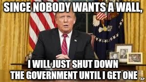 Trump Talk | SINCE NOBODY WANTS A WALL, I WILL JUST SHUT DOWN THE GOVERNMENT UNTIL I GET ONE | image tagged in trump addresses the nation,donald trump,trump,trump wall,political meme,blackmail | made w/ Imgflip meme maker