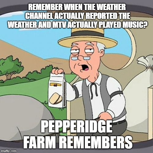 Oh how the channels have changed... | REMEMBER WHEN THE WEATHER CHANNEL ACTUALLY REPORTED THE WEATHER AND MTV ACTUALLY PLAYED MUSIC? PEPPERIDGE FARM REMEMBERS | image tagged in memes,pepperidge farm remembers,weather channel,mtv | made w/ Imgflip meme maker