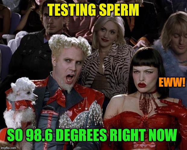 Mugatu So Hot Right Now Meme | TESTING SPERM SO 98.6 DEGREES RIGHT NOW EWW! | image tagged in memes,mugatu so hot right now | made w/ Imgflip meme maker