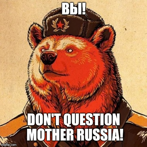 soviet bear | ВЫ! DON'T QUESTION MOTHER RUSSIA! | image tagged in soviet bear | made w/ Imgflip meme maker