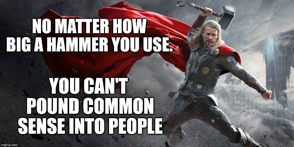 Unfortunately, common sense is not that common. | NO MATTER HOW BIG A HAMMER YOU USE. YOU CAN'T POUND COMMON SENSE INTO PEOPLE | image tagged in thor and his hammer | made w/ Imgflip meme maker