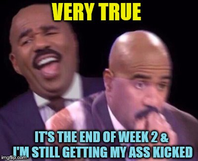 Steve Harvey Laughing Serious | VERY TRUE IT'S THE END OF WEEK 2 & I'M STILL GETTING MY ASS KICKED | image tagged in steve harvey laughing serious | made w/ Imgflip meme maker