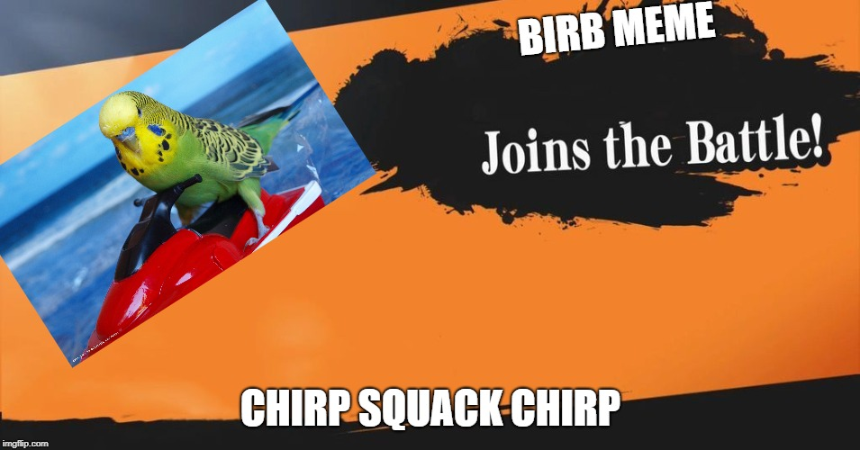 (Blank) Joins the Battle! | BIRB MEME CHIRP SQUACK CHIRP | image tagged in blank joins the battle | made w/ Imgflip meme maker