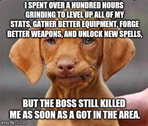 Figures... | I SPENT OVER A HUNDRED HOURS GRINDING TO LEVEL UP ALL OF MY STATS, GATHER BETTER EQUIPMENT, FORGE BETTER WEAPONS, AND UNLOCK NEW SPELLS, BUT | image tagged in frustrated dog | made w/ Imgflip meme maker
