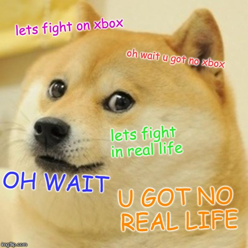 Doge | lets fight on xbox oh wait u got no xbox lets fight in real life OH WAIT U GOT NO REAL LIFE | image tagged in memes,doge | made w/ Imgflip meme maker