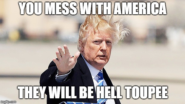 Trump Toupee | YOU MESS WITH AMERICA THEY WILL BE HELL TOUPEE | image tagged in trump toupee | made w/ Imgflip meme maker