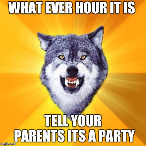 courage wolf | WHAT EVER HOUR IT IS TELL YOUR PARENTS ITS A PARTY | image tagged in memes,courage wolf | made w/ Imgflip meme maker