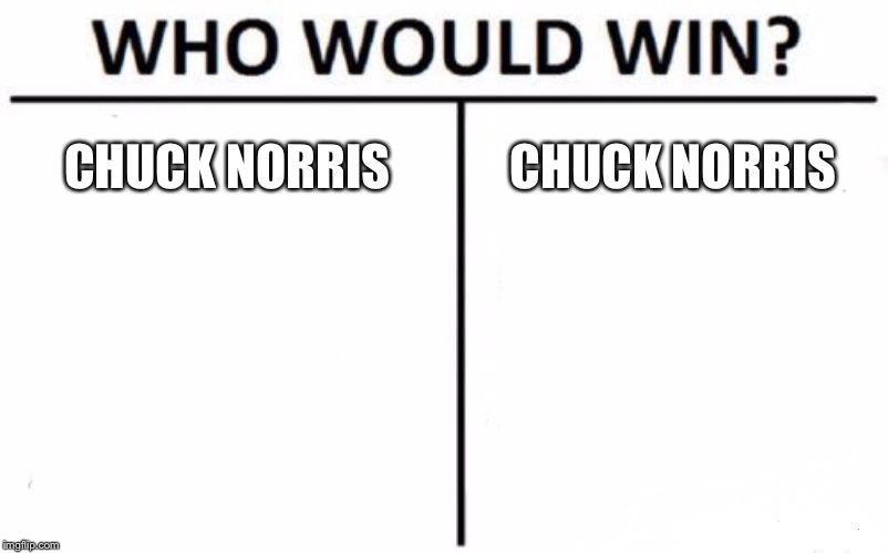 Who Would Win? Meme | CHUCK NORRIS CHUCK NORRIS | image tagged in memes,who would win | made w/ Imgflip meme maker