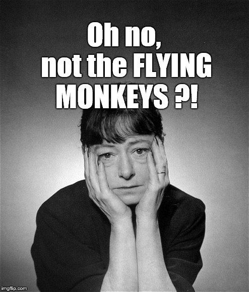 Dorothy Parker | Oh no, not the FLYING MONKEYS ?! | image tagged in dorothy parker | made w/ Imgflip meme maker