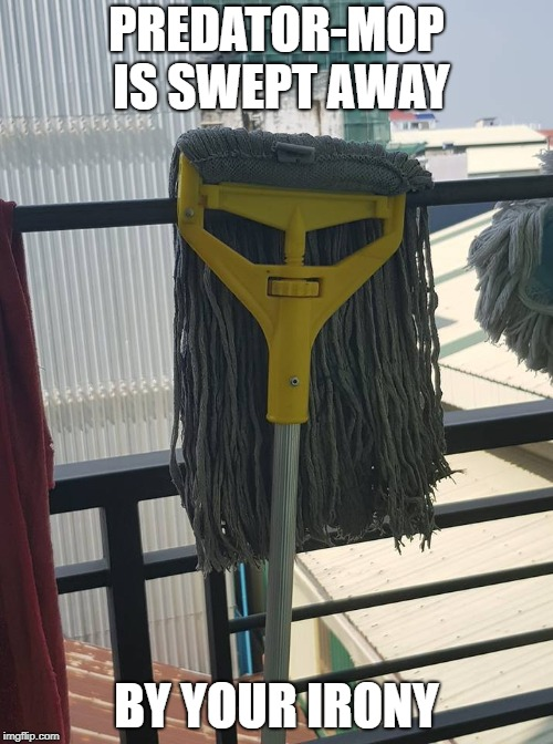 Predator Mop | PREDATOR-MOP IS SWEPT AWAY BY YOUR IRONY | image tagged in predator,predators,mop,irony,sweep,funny picture | made w/ Imgflip meme maker
