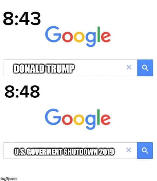 google before after | DONALD TRUMP U.S. GOVERMENT SHUTDOWN 2019 | image tagged in google before after,memes,politics,government shutdown,trump | made w/ Imgflip meme maker