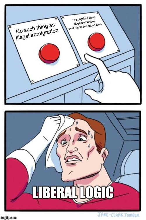 Two Buttons |  The pilgrims were illegals who took over native American land; No such thing as illegal immigration; LIBERAL LOGIC | image tagged in memes,two buttons | made w/ Imgflip meme maker