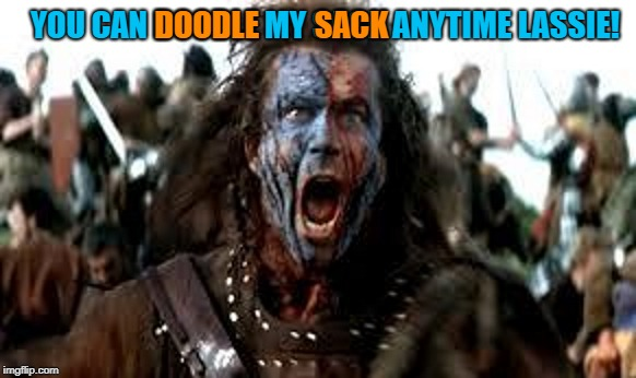 YOU CAN DOODLE MY SACK ANYTIME LASSIE! DOODLE         SACK | made w/ Imgflip meme maker