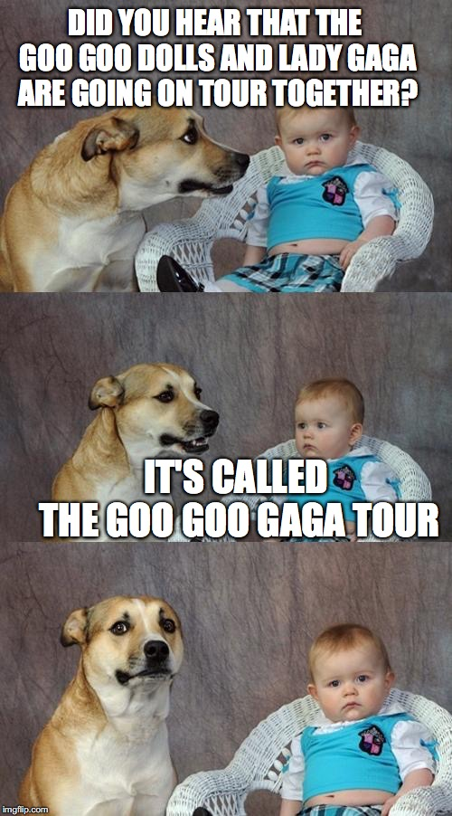 Dad Joke Dog Meme | DID YOU HEAR THAT THE GOO GOO DOLLS AND LADY GAGA ARE GOING ON TOUR TOGETHER? IT'S CALLED THE GOO GOO GAGA TOUR | image tagged in memes,dad joke dog | made w/ Imgflip meme maker