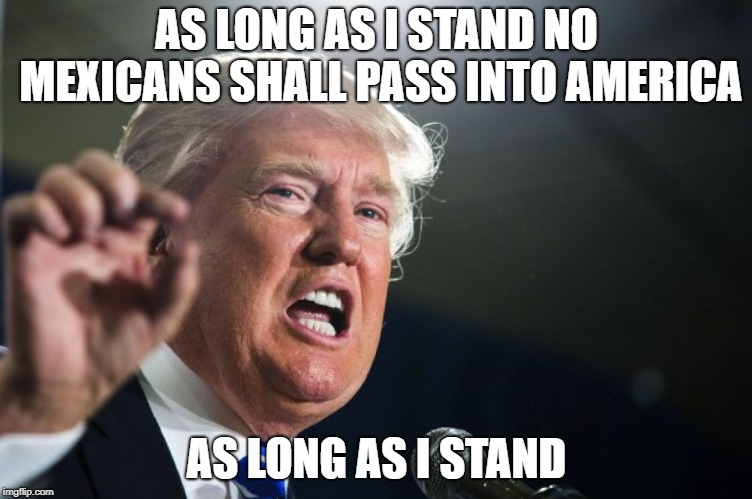 so that means... | AS LONG AS I STAND NO MEXICANS SHALL PASS INTO AMERICA AS LONG AS I STAND | image tagged in donald trump | made w/ Imgflip meme maker