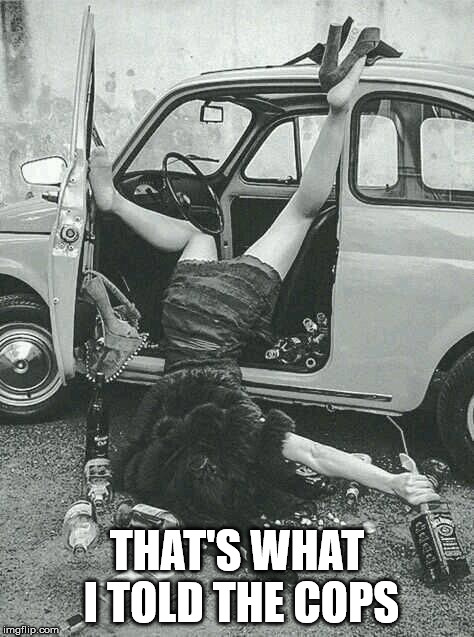 Drunk Girl  | THAT'S WHAT I TOLD THE COPS | image tagged in drunk girl | made w/ Imgflip meme maker