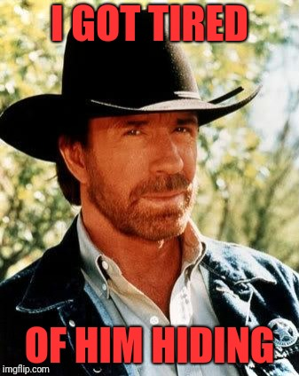 Chuck Norris Meme | I GOT TIRED OF HIM HIDING | image tagged in memes,chuck norris | made w/ Imgflip meme maker