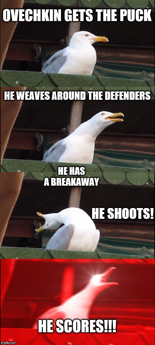 NHL announcers | OVECHKIN GETS THE PUCK HE WEAVES AROUND THE DEFENDERS HE HAS A BREAKAWAY HE SCORES!!! HE SHOOTS! | image tagged in memes,inhaling seagull | made w/ Imgflip meme maker